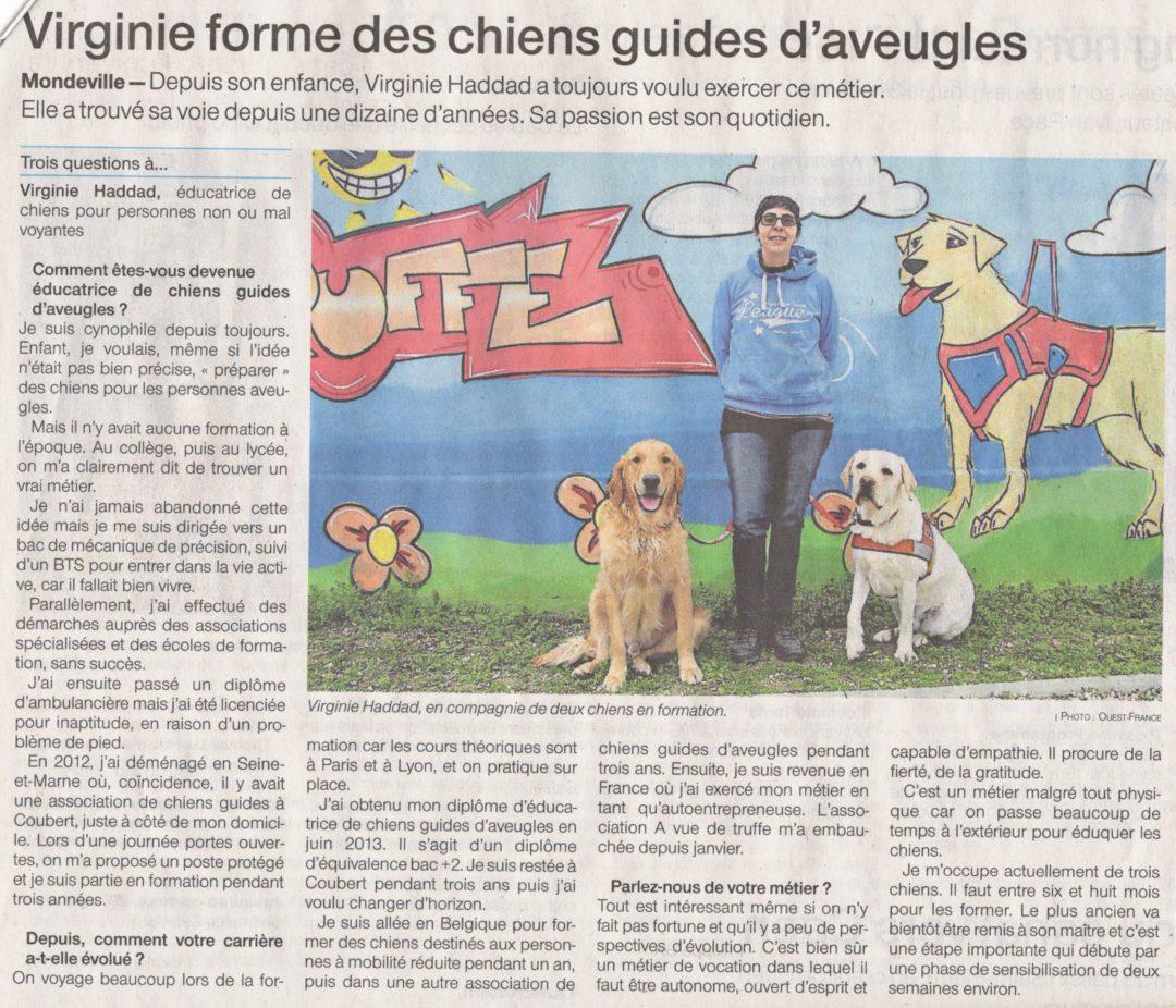 Ouest France – «Virginie forme des chiens-guides»