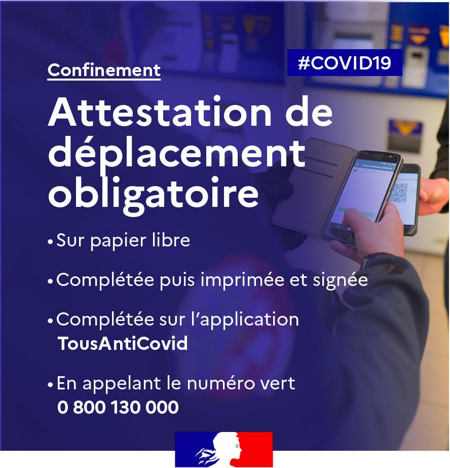 Covid-19 : Attestation de déplacement