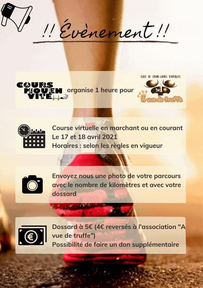 Course virtuelle au profit d'A Vue de Truffe – 17 et 18 avril 2021